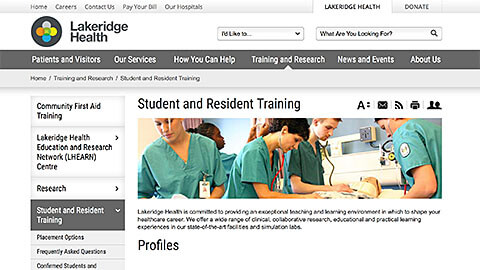 Lakeridge Health Website Image
